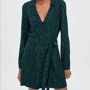 NWT Zara green snakeskin mini dress